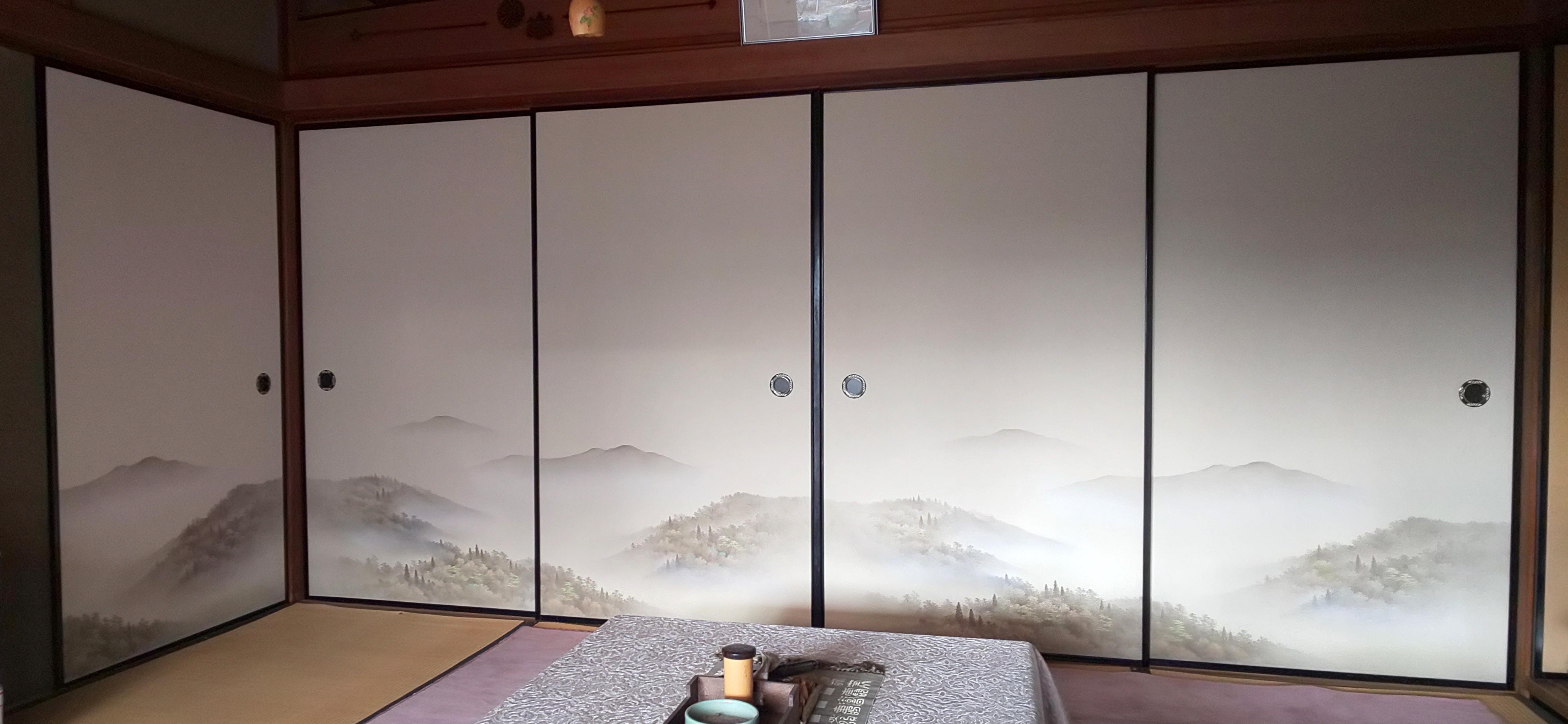 【施工写真】ふすまの張替 高級織物
